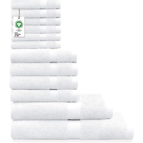 Organic Cotton Feather Touch Quick Dry 700 GSM Towel Set, (12-Piece Set)