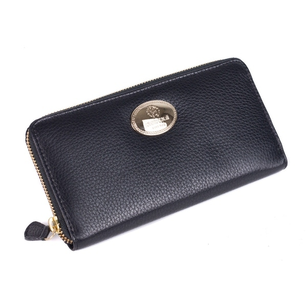 Roberto Cavalli Black Grained Leather Zip around Continental Wallet - no size