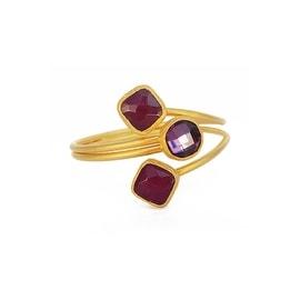 Helene Jewelry Pink Amethyst Triple Stone Coil Bracelet