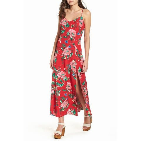 Love Fire Red Womens Size XS Floral Front Slit Hem Maxi Dress