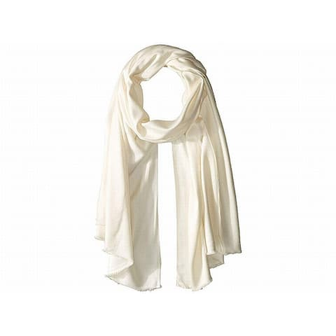 Vince Camuto Women's Scarves White Ivory Satin Solid Fray Pashmina