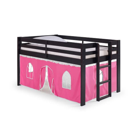 Taylor & Olive Acropolis Espresso Twin Loft Bed with Underbed Tent