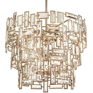 """Park Harbor PHPL5152 Hand Applied Antique Silver Leaf Afton 25"""" Wide 12 Light Foyer Pendant with Metal and Glass Accents"""