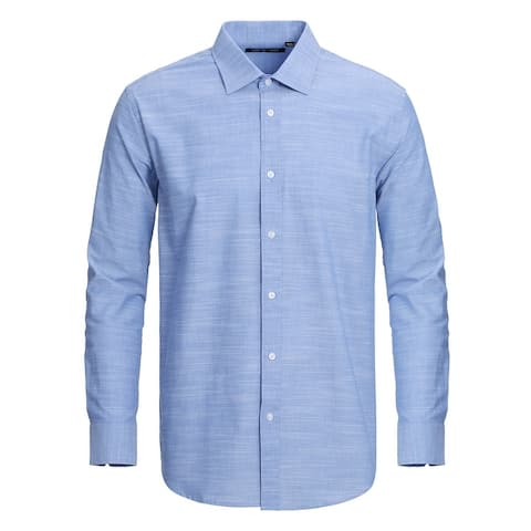 Men's Regular Fit Solid Blue Cotton Slub Dress Shirts