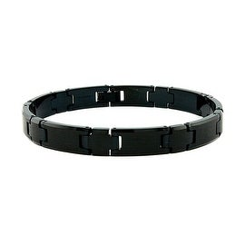 Black Plated Tungsten Carbide Men's Link Bracelet - 9 Inches