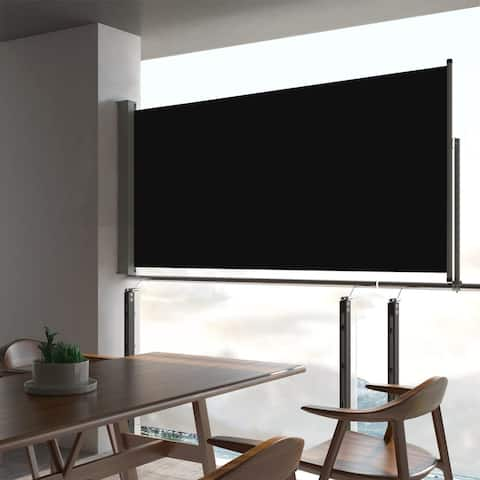 "vidaXL Patio Retractable Side Shade 31.5""x118.1"" Black"