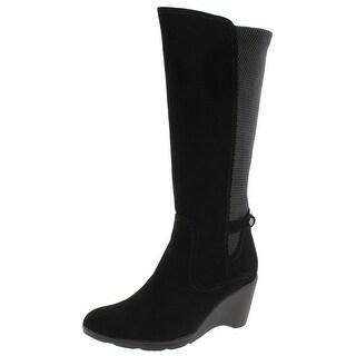 Blondo Womens Lauren Knee-High Boots Suede Wedge