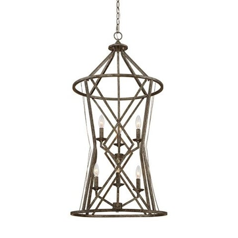"Millennium Lighting 2296 Lakewood 6 Light 20"" Wide Foyer Pendant with Cage Frame and Candle Style Lights"