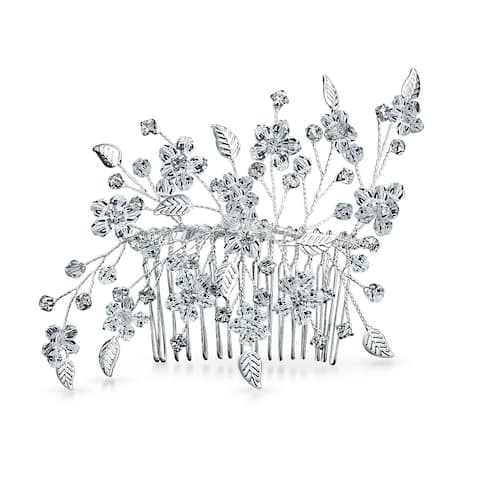 Wire Leaf Wedding Hair Accessories For Brides Women Crystal Bridal Hair Comb For Party Prom Pageant Birthday