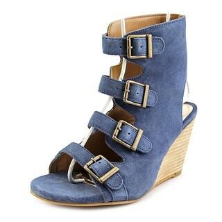 Diba True In Vited Open Toe Leather Wedge Heel