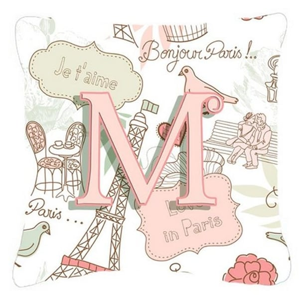 shop letter m love in paris pink canvas fabric decorative pillow