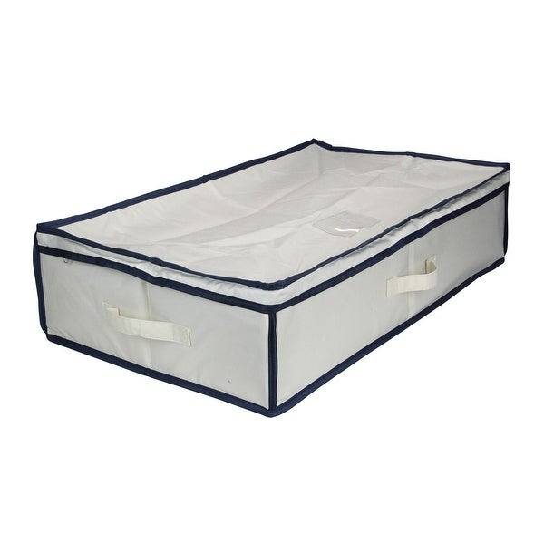 "28.5"" Beige and Blue Canvas Under The Bed Storage Rectangular Bag - N/A"