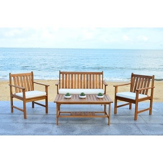 Shop Safavieh Outdoor Living Cushioned Brown Acacia Wood 4 ... on Safavieh Outdoor Living Montez 4 Piece Set id=48306