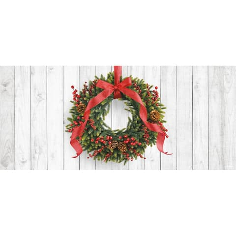 7' x 16' White and Green Christmas Wreath Double Car Garage Door Banner