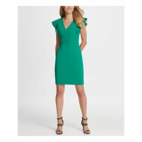 DKNY Womens Green Cap Sleeve Short Sheath Cocktail Dress Size 16