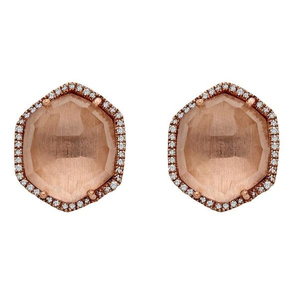 10 ct White Quartz Earrings in 14K Rose Gold-Plated Sterling Silver
