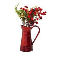 """13"""" Red Berry and Foliage with Bell in Vintage Milk Jug Christmas Decoration"""