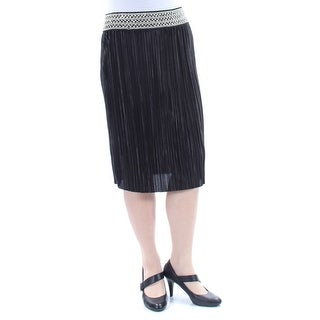 MSK Womens Black Sequined Below The Knee Accordion Pleat Skirt  Size: M