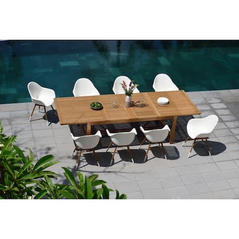Life Style Garden 9 Piece Teak Finish Patio Dining Set - White Chairs
