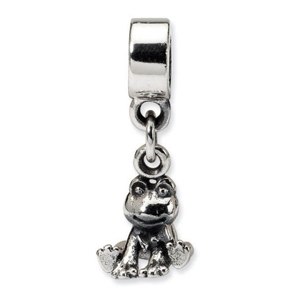 Sterling Silver Reflections Kids Frog Dangle Bead (4mm Diameter Hole)