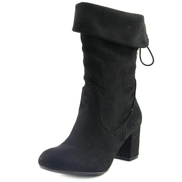 GC Shoes Lane Women Round Toe Synthetic Black Mid Calf Boot