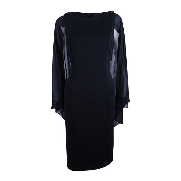7a9209f5997eb Shop SL Fashions Women s Embellished Cape Sheath Dress - Black - On Sale -  Free Shipping Today - Overstock - 20728820