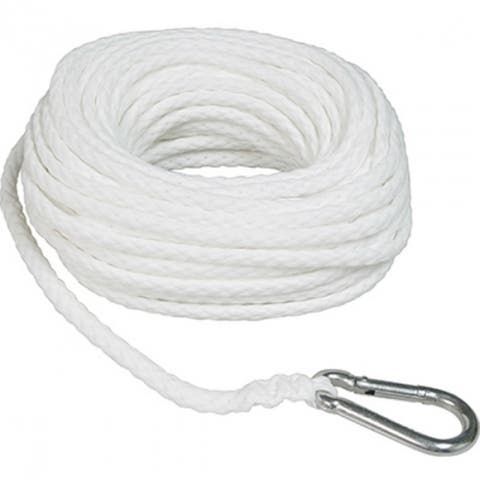 "SeaSense 50013047 Braid Poly Anchor Line with Spring Hook, White, 3/8"" x 100'"