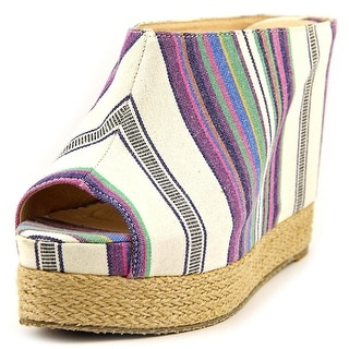 Chinese Laundry Keep Going Women Open Toe Canvas Multi Color Wedge Heel