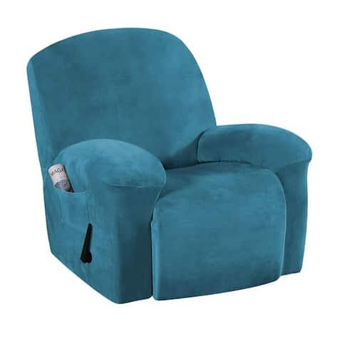 Enova Home Real Velvet Spandex Recliner Chair Slipcover with Elastic Bottom Side Pocket (As Is Item)