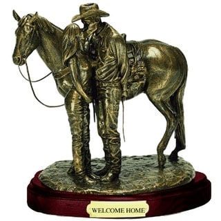 Western Moments Statue Welcome Home Cowboy Horse Bronze 59106