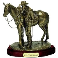 Western Moments Statue Welcome Home Cowboy Horse Bronze