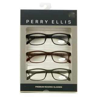 Perry Ellis Mens 3 Multi Pack Plastic Reading Glasses +1.5 Black/Brown/Grey PEBX31, Includes Perry Ellis Pouch