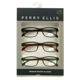Perry Ellis Mens 3 Multi Pack Plastic Reading Glasses +2.0 Black/Brown/Grey PEBX31, Includes Perry Ellis Pouch