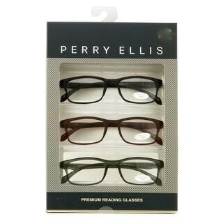 Perry Ellis Mens 3 Multi Pack Plastic Reading Glasses +2.5 Black/Brown/Grey PEBX31, Includes Perry Ellis Pouch - demi