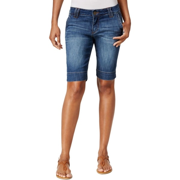 Kut From The Kloth Womens Bermuda Shorts Denim Slit Pockets