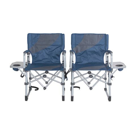 Offex Folding Camping Chair with Side Table and Padded Armrest, Blue - Set of 2