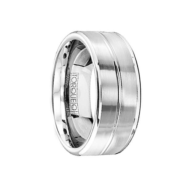 Satin Finish Cobalt Wedding Ring with Polished Center & Edges by Crown Ring - 9mm
