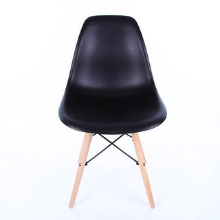 Vecelo Eames Chair Natural Wood Legs Eiffel Dining Chair/lounge Chair, Set of 1, Black