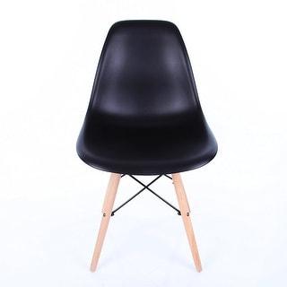 Vecelo Eames Chair Natural Wood Legs Eiffel Dining Chair/lounge Chair, Set of 1, Black