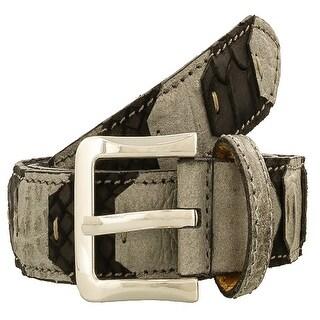 Renato Balestra LEO GRIGIO E NERO Grey/Black Leather Mens Belt-38.5in