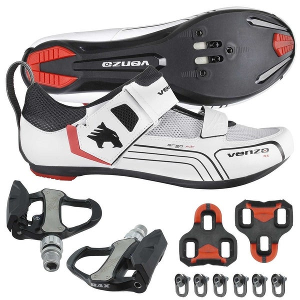 e3d12693f1c Shop Venzo Cycling Bicycle Bike Triathlon Shoes with Pedals For Shimano SPD  SL Look White - Free Shipping Today - Overstock - 25680854