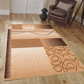 "Allstar Brown Area Rug. Contemporary. Abstract. Traditional. Formal. Shapes. Spirals. Circles (5' 2"" x 7' 1"")"