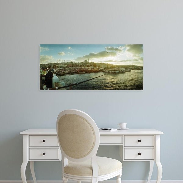 Easy Art Prints Panoramic Image 'People fishing in the Bosphorus Strait, Marmara Region, Istanbul, Turkey' Canvas Art