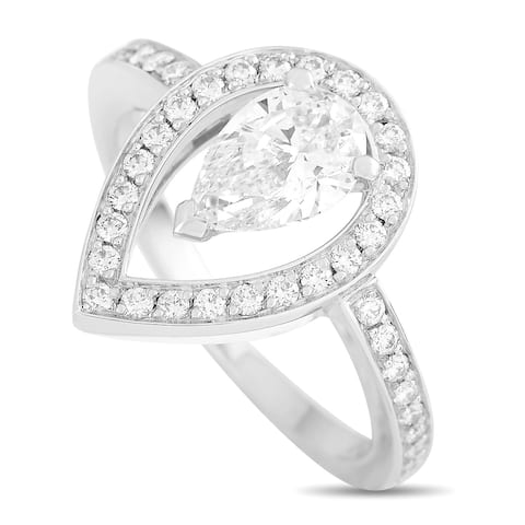 Fred of Paris Lovelight Platinum 1.46 ct Pear and Round Diamond Ring (E color, VVS1 clarity) Size 6.75