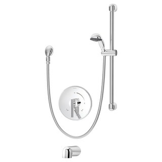 Symmons S-3504-H321-V-CYL-B  Dia Tub and Shower Trim Package with Single Function Hand Shower and Double Lever Handle