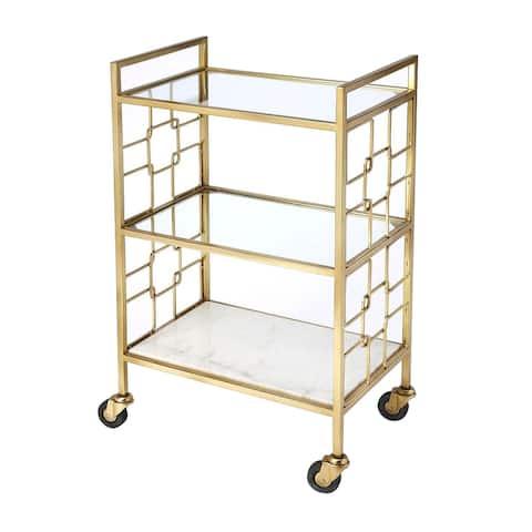 "Offex Arcadia Modern Polished Gold Rectangular Bar Cart - 13""L x 20.5""W x 33.5""H"