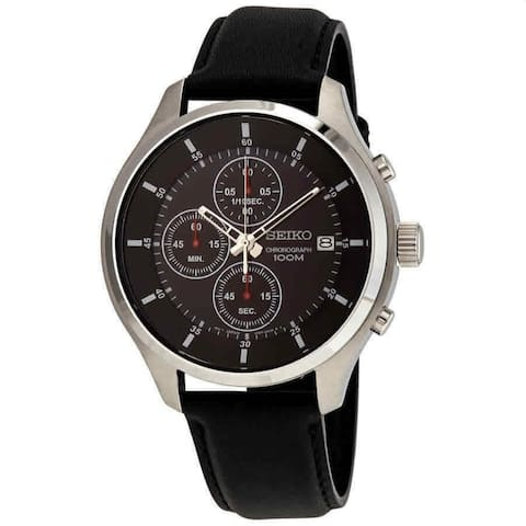 Seiko Men's SKS539P2 'Neo Sports' Chronograph Black Leather Watch