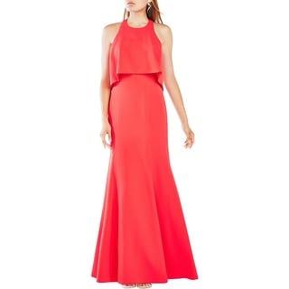 BCBG Max Azria Womens Louella Evening Dress Crepe Popover - 2