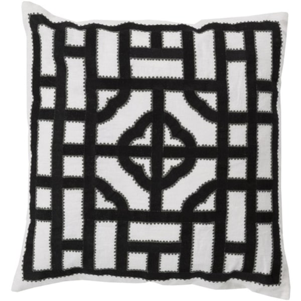 "20"" Ivory, Charcoal and Ash Gray Chinese Gate Decorative Linen Throw Pillow"