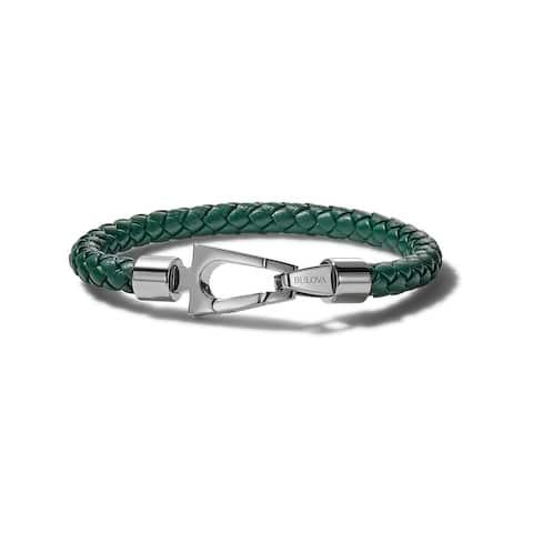 Bulova Mens Marine Star Leather Bracelet - J96B026M - Green